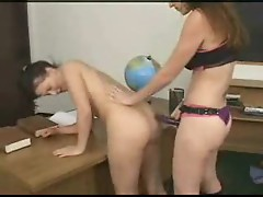 Lesbian ass fucking in the classroom