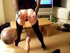 Sissy wears lingerie and gets whipped