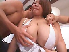 Her huge Japanese tits look good