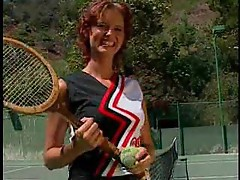 Coed playing tennis and fucking