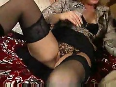 Sexy black lingerie and boots on horny mom