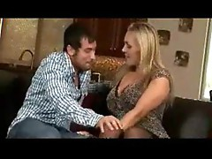Blonde mom in slutty outfit lets him have her