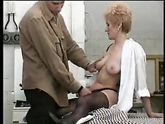Mother with hairy pussy gets young meat