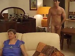 Three chubby matures help out his cock