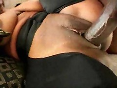 Black chick with nice natural tits railed