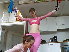 Petite lesbian friends playing home