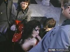Buxom brunette enjoy lots of cocks
