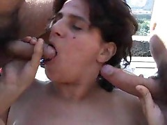 Hairy cunt chubby chick boned outdoors