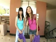 Super hot Asian girls with huge dildos