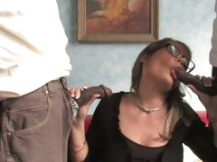 Kelly Leigh cougar suck and wank black cocks
