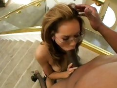 Dark dick lover Daisy Dukes gags on a huge black dick