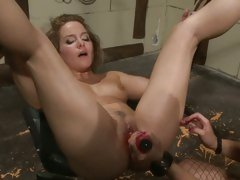 Katy Borman press dildo inside the cunt of hot chick