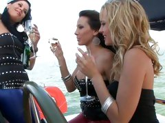 Blue Angel gets hot and horny while drinking wine with her friends