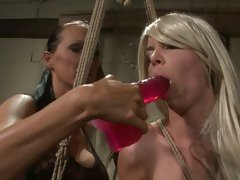 Mandy Bright fuck the mouth of hot babe with dildo