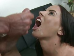 Brandy Aniston and Peter North catching of warm cumshot