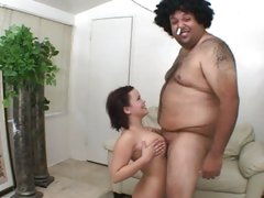 Kaci Star fuck her boobs with small cock of fat guy