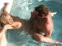 Big titted hot mom Jazella Moore gets fucked just right in the pool