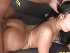 Angelica Heart gets shagged from behind whilst sucking another warm cock