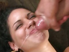 Gorgeous latina gets a face full off warm cock sauce