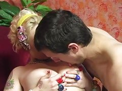 Candy Monroe let hot guy clean cum on her chest