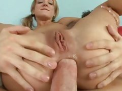 Naughty bitch Amy Brooke gets her tight ass packed with thick cock and fucked