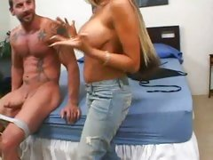 Sexy vixen Carmel Moore gives her hot tongue a workout on a nice stiff dick.