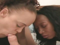 Mone Divine and Stacey Cash peel cock with their lips
