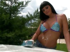 Scrubber Aletta Ocean suds up this car & her tits