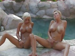 Huge tittie Carly Parker playing with her friends pussy and sharing hers to