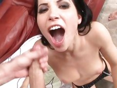 Rebecca Linares swallow cumshot after a double ramming