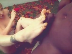 Adrianna Nicole rubbing of black cock by her feet