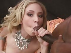 Hillary Scott sucking the black cock loaded with cum