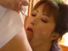 Japanese slut Fujiko Kano slurps on this hard dick