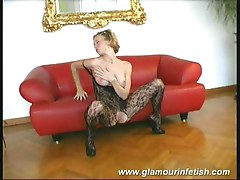 Provocative blonde slut strips her sexy body stockings for hot fun