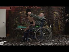 Handicap sex with sizzling hot brunette and one legged soldier