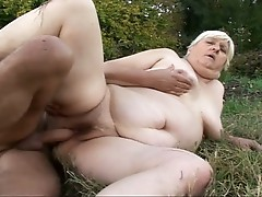 Chubby blonde granny gets fucked by the devil