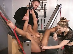 Horny blonde slut maxine tied up for hot pussy torturing