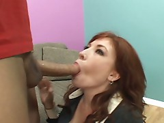 Red haired momma riding massive thick boner for some bucks