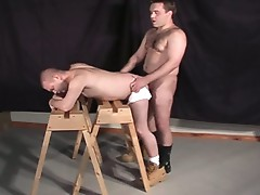 Bald dude gets banged hard in the ass