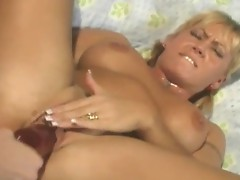 Busty Lesbians Toes and Dildo fucking scene