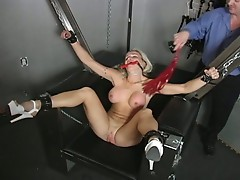 Hot cheating blonde strapped to fuck machine by husband as punishment