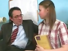 Horny man grabbed Irena's pony tails and fucked her mouth.