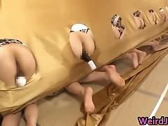 Crazy japanese chicks show asses