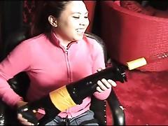 Jasmine jade admiring a machine dildo