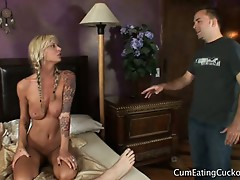 Blonde slut sucks cock with husband