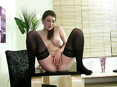 Watch this mature hottie explore her body and pink pussy
