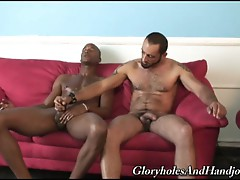 Hairy muscled gay hunk giving monster black cock hot handjob