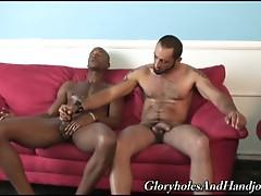 Hairy muscled gay hunk giving monster black cock hot handjob