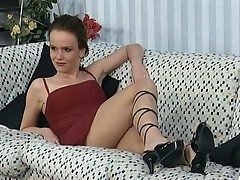 Straben flirts with sexy brunette and fucks her