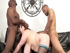 Two monster black cocks stuffing horny big tits fat chick